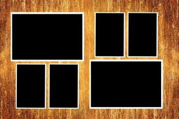 photo frames on grunge brown texture background