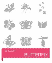 Vector Butterfly icon set
