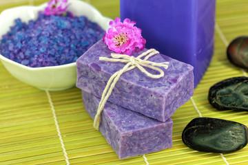 Spa treatment setting with purple theme