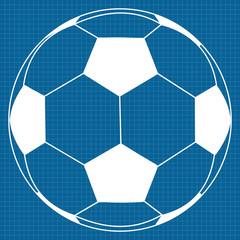 Soccer ball.   illustration on Blueprint Background.