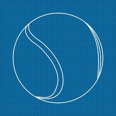 Tennis ball. Icon. Blueprint Background.