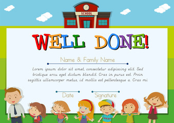 Certificate with children at school background