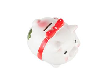 saving piggy on a white background