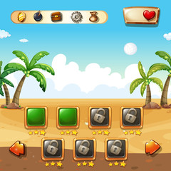 Game template with beach background
