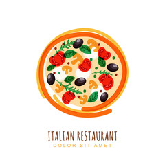 Hand drawn doodle illustration of italian pizza with tomato, mus