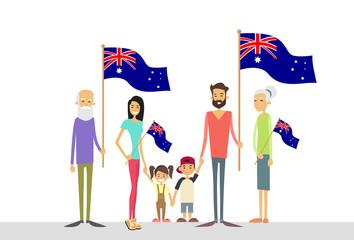 Australia Day National Flag Big Family Kids Parents Grandparents