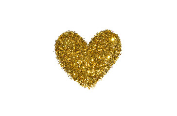 Abstract heart of golden glitter sparkle on white background