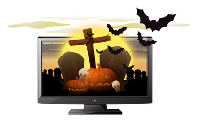 Computer screen with halloween theme