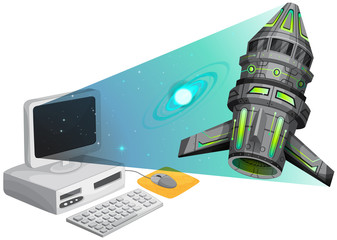 Spaceship floating out of the computer screen