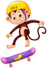 Monkey with helmet playing skateboard