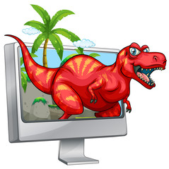 Red dinosaur coming out of computer screen