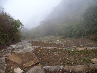 choquequirao inka ruin in peruvian mountain jungle