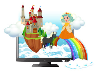 Computer screen with princess and castle