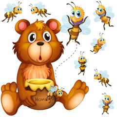 Bear holding honey jar and bees flying around