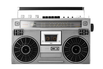 Silver old-school  ghetto blaster or boombox with clipping path