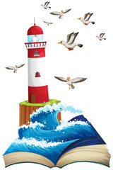 Lighthouse and seagulls at sea