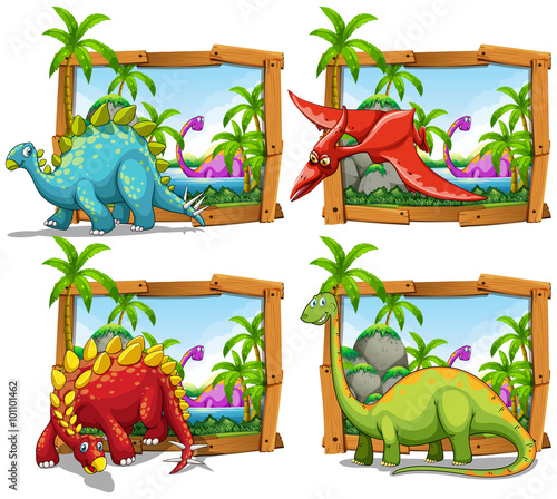 Four scenes of dinosaurs by the lake