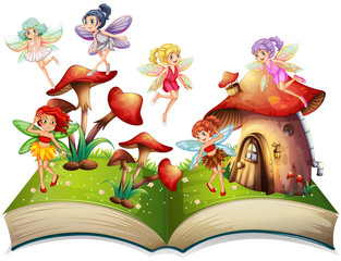 Fairies flying around the mushroom house