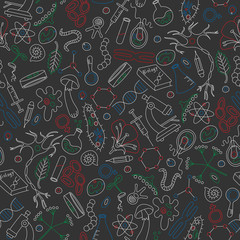 Seamless background on a theme of biology and education, colored marker on dark background