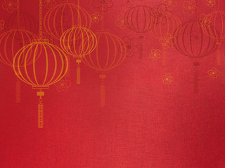 Close up red silk fabric,