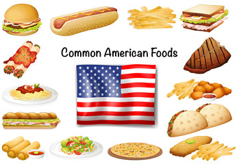 Different common American food set