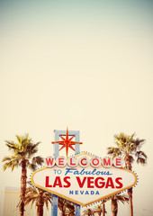 Foto op Aluminium Las Vegas Retro stylized Welcome To Las Vegas Sign with copy space.