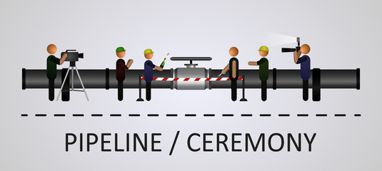 The opening ceremony of the pipeline with the people. Illustration performed on a gray background with isolated objects