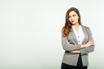 beautiful girl portrait of a business suit white background