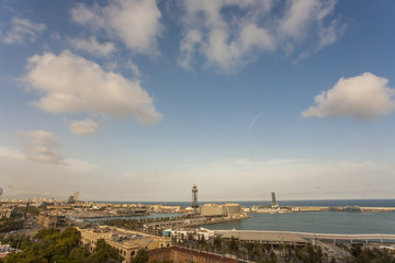 barcelona, blue, building, buildings, catalonia, city, cityscape, clouds, design, destination, espana, europe, european, exterior, famous, green, history, views, montjuic