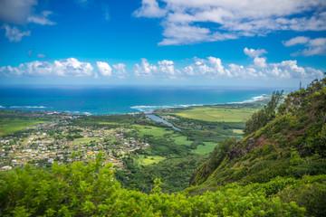 Wall Mural - Kauai, Hawaii, USA -Panoramic aerial view from Sleeping Giant He