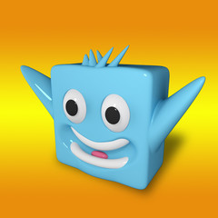 emotional cube/3d character cube experiencing emotions and waving his arms