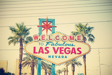 Cross processed photo of the Welcome To Las Vegas Sign, USA.