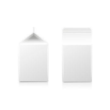 White half-liter cardboard brick package for diary products, juice or beverage. Packaging collection. illustration.