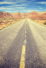Vintage stylized country road, travel concept.