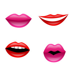 Red pink isolated lips set illustration vector