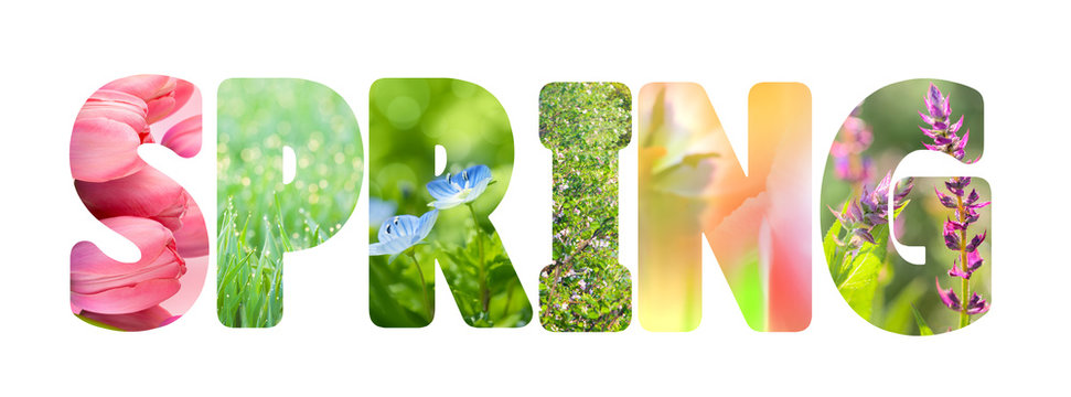Word Spring with colorful nature images inside the letters,
