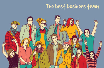 Best business team group happy color people.