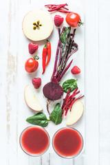 Red healthy smoothie ingredients