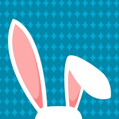 White Easter Bunny Ears On Blue Background