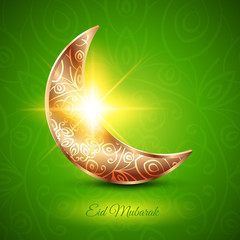 Golden Moon for Muslim Community Festival Eid Mubarak