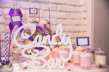 Candy bar. Table with sweet 