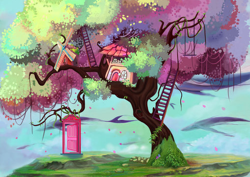 Illustration: The Memory Gate / Door. The Tree House. The Floating Island. The Flying Great White Whale. Fantastic Cartoon Style Wallpaper Background Scene Design with Story.