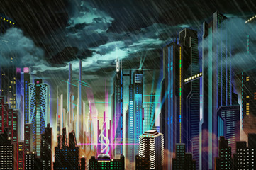 Illustration: Dismal Dark Rainy Futuristic City. Realistic Fantastic Cartoon Style Artwork Scene, Wallpaper, Game Story Background, Card Design