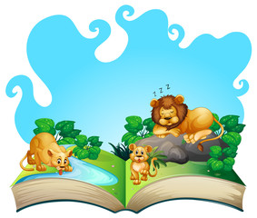 Lion family by the river