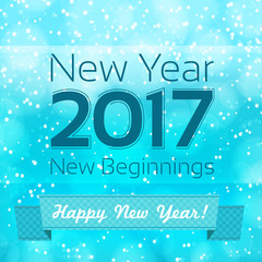happy new year illustration with snowing background. design temp