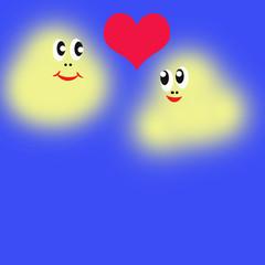 Поздравление на свадьбу и день Святого Валентина. Веселые сердечки. Мультипликационные персонажи. Влюбленные парочки с сердечками.