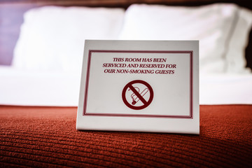 No Smoking Sign in Hotel Room