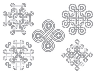 Vector set of traditional Stone Celtic hand drawn ornament on a white background. Vector illustration.