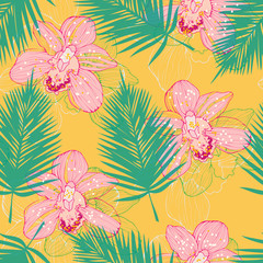 bright pattern wit orchids