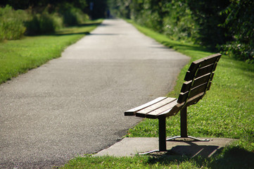 Park Bench on Walking Trail Picture